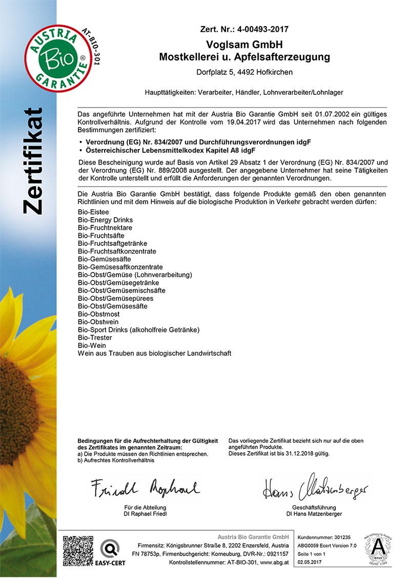 Bio Zertifikat Voglsam 2017