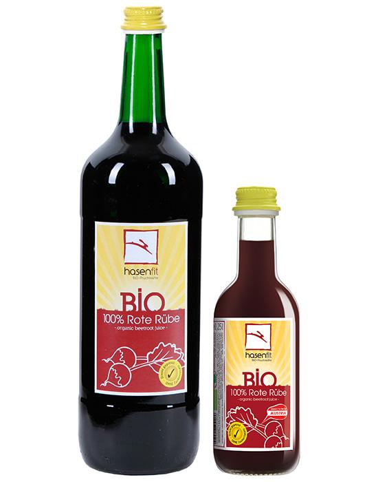 hasenfit BIO 100% Rote Rübe in der 1l und 0,25l Flasche